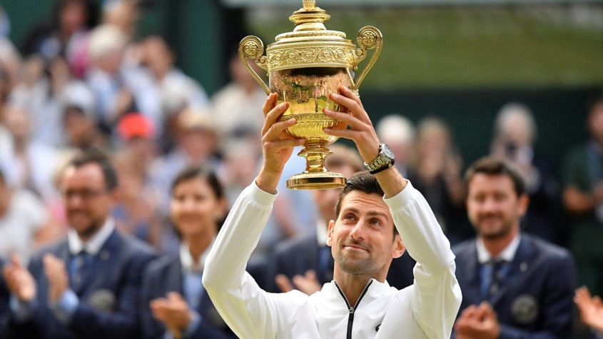 Novak Djokovic wearing Seiko Astron at Wimbledon 2019