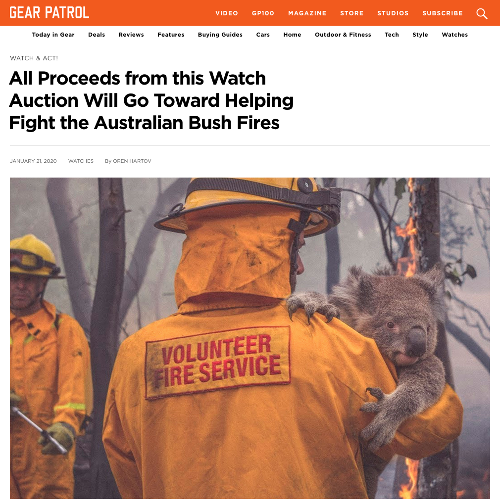 Australian bushfire crisis watch auction