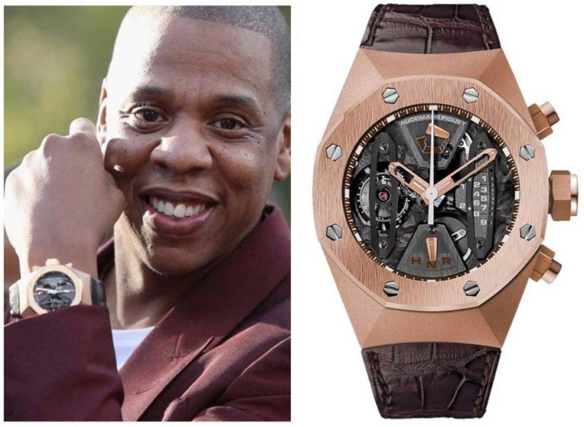"""Who's your Daddy, Champagne Papi?"" Jay-Z is all smiles in his Royal Oak Concept Tourbillon Chronograph in 18KT Rose Gold after being informed of his win over Drake in Time+Tide's first Celebrity Watch Death Match"