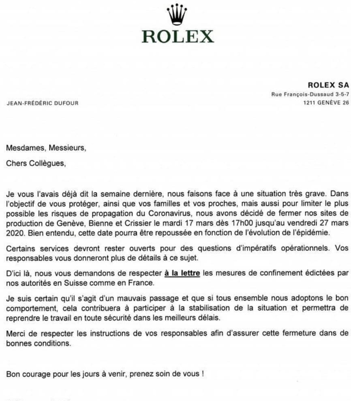 Rolex shuts down production