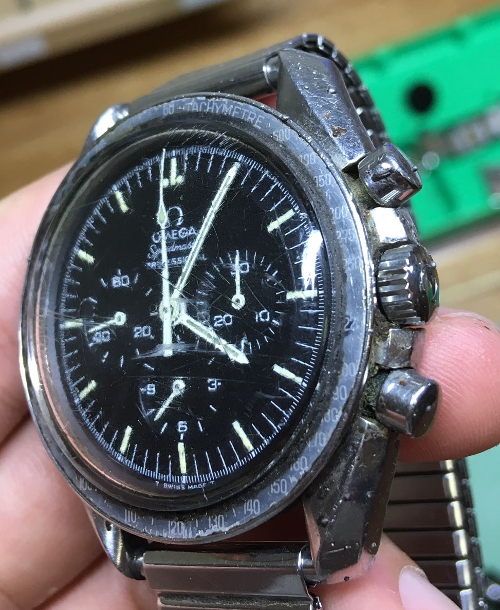 Bringing one of the most badly abused Omega Speedmasters we've ever seen back from the dead