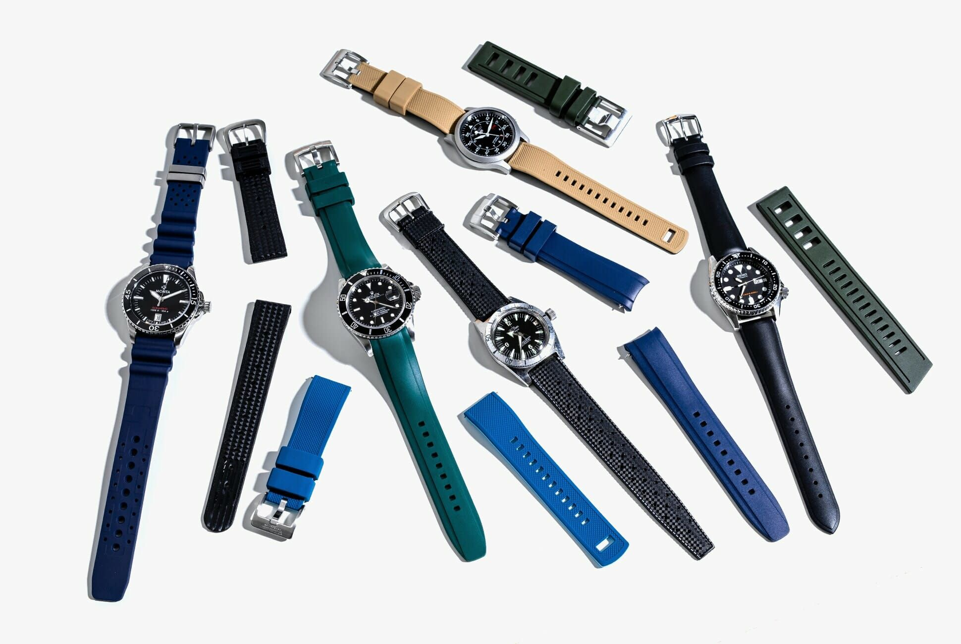 Sports watches on rubber straps
