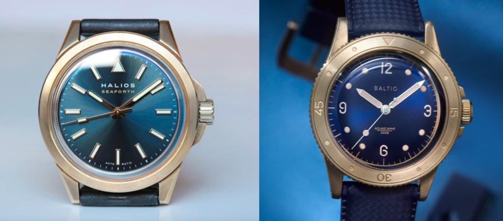 Comparing the Halios Seaforth Bronze Vs. Baltic Aquascaphe Bronze, two giant microbrand divers for under $1000