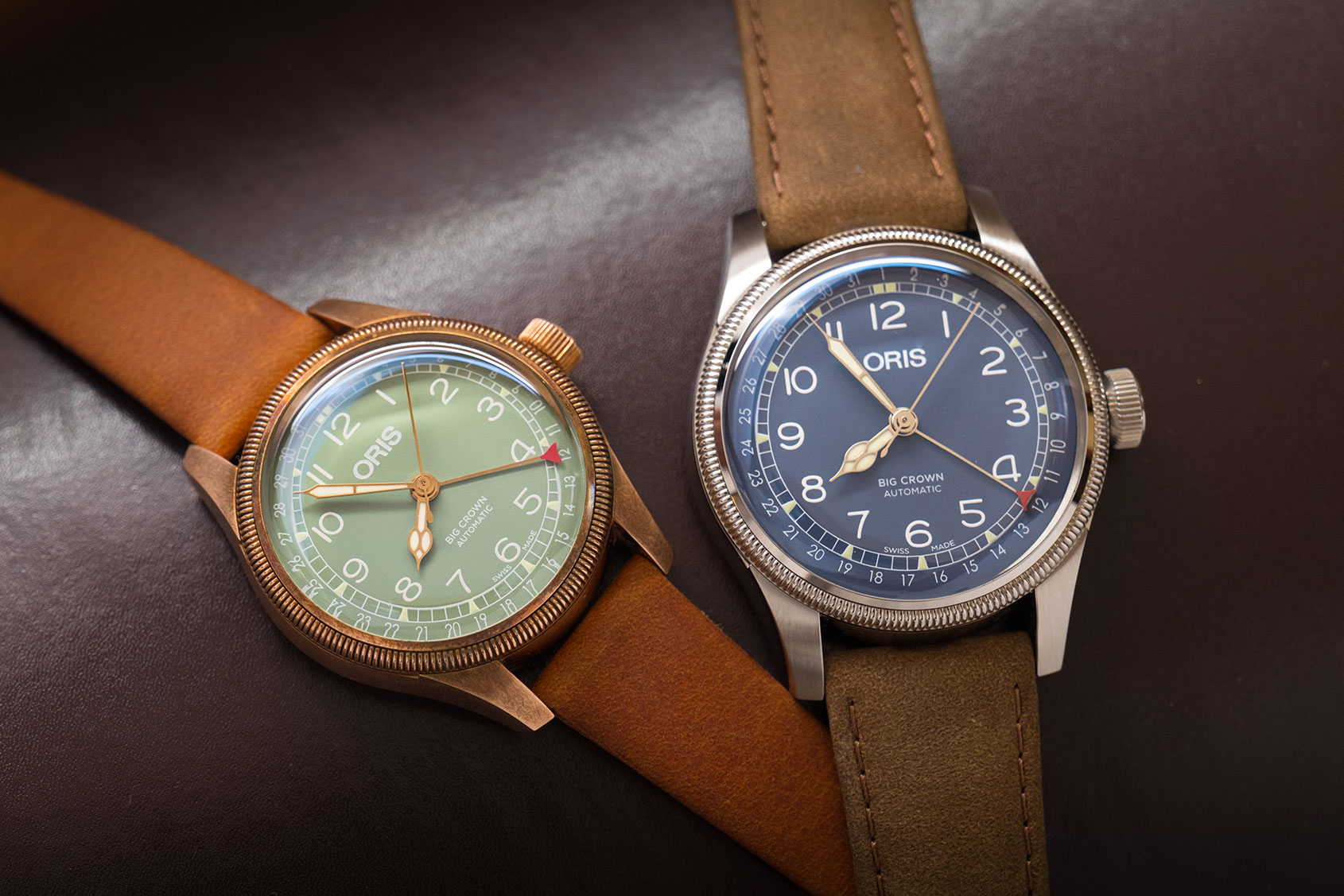 INTRODUCING: The Oris Big Crown Pointer Date in blue and the brand new 36mm version available in both steel and bronze