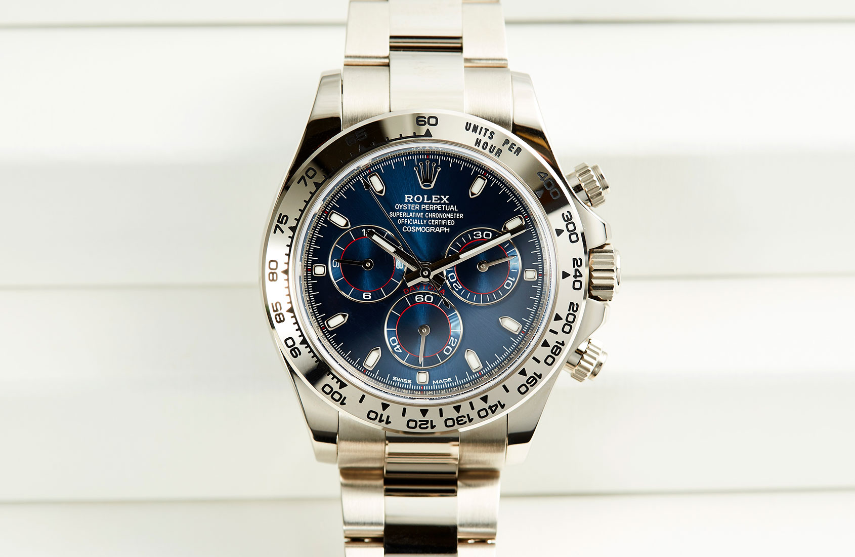The heavy-hitting Rolex Daytona in white gold with blue dial (ref. 116509)