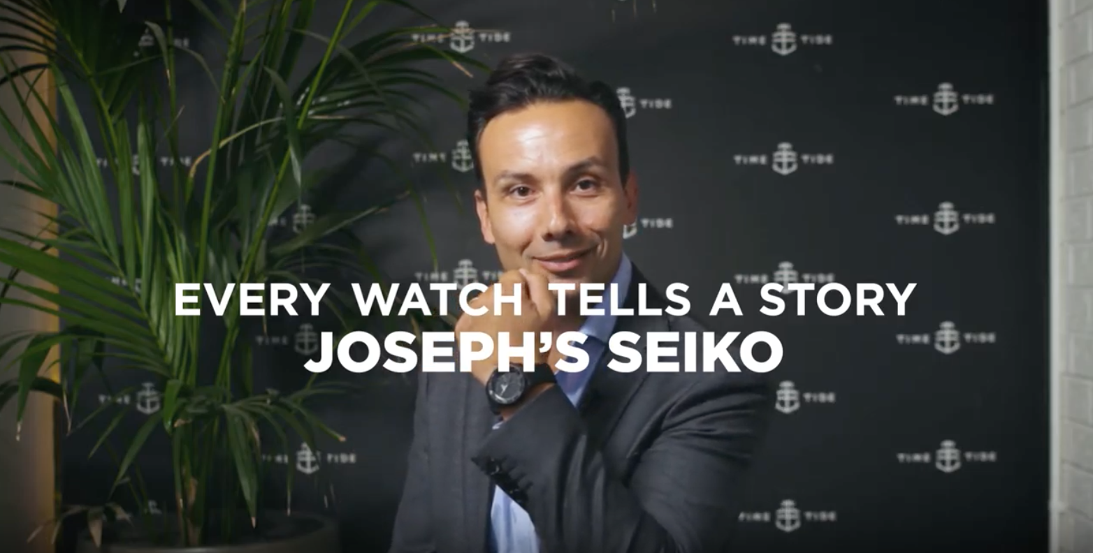 EVERY WATCH TELLS A STORY: Joseph's murdered out Seiko 5 Sports SRPD79K1 on integrated rubber Crafter Blue strap is a cold killer