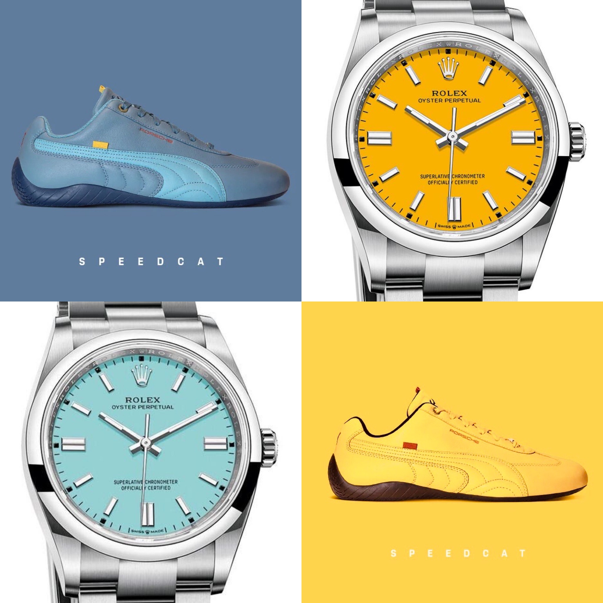 #kicktock: The party's on in this matchup of bright colours from Rolex and Puma x Porsche