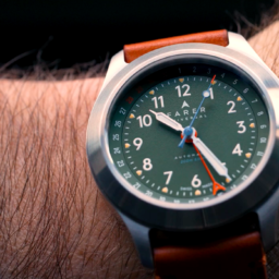 The olive-green Farer Exmoor field watch feels like wrist-bound British tailoring with a sexy twist
