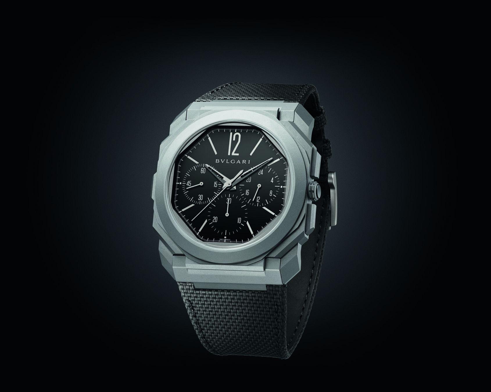 INTRODUCING: The Bulgari Octo Finissimo Chronograph GMT Titanium Black Dial bounces into town on a rubber strap