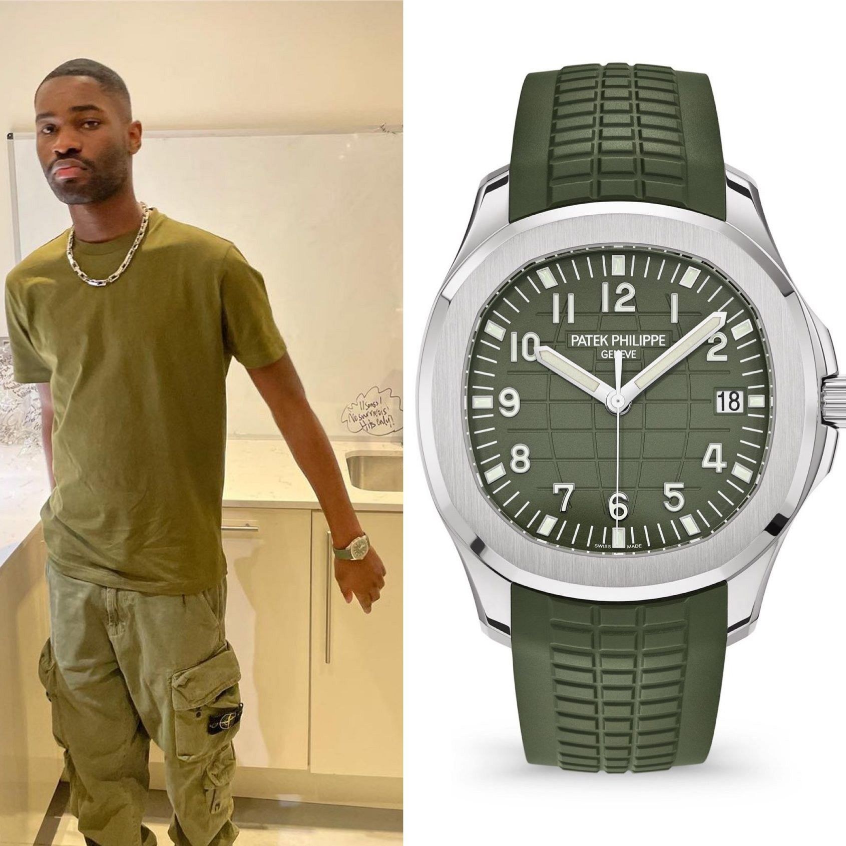 """UK rapper Dave adds a Patek Phillipe Aquanaut 5168G in """"khaki green"""" to his stellar collection"""