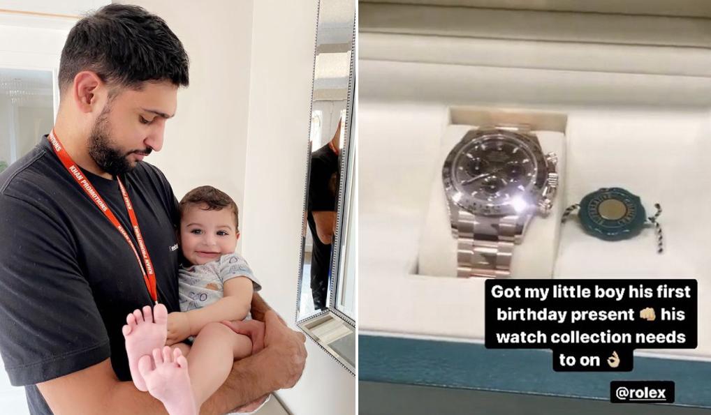 Boxer Amir Khan's son gets £30,000 Rolex Cosmograph Daytona as a first birthday present
