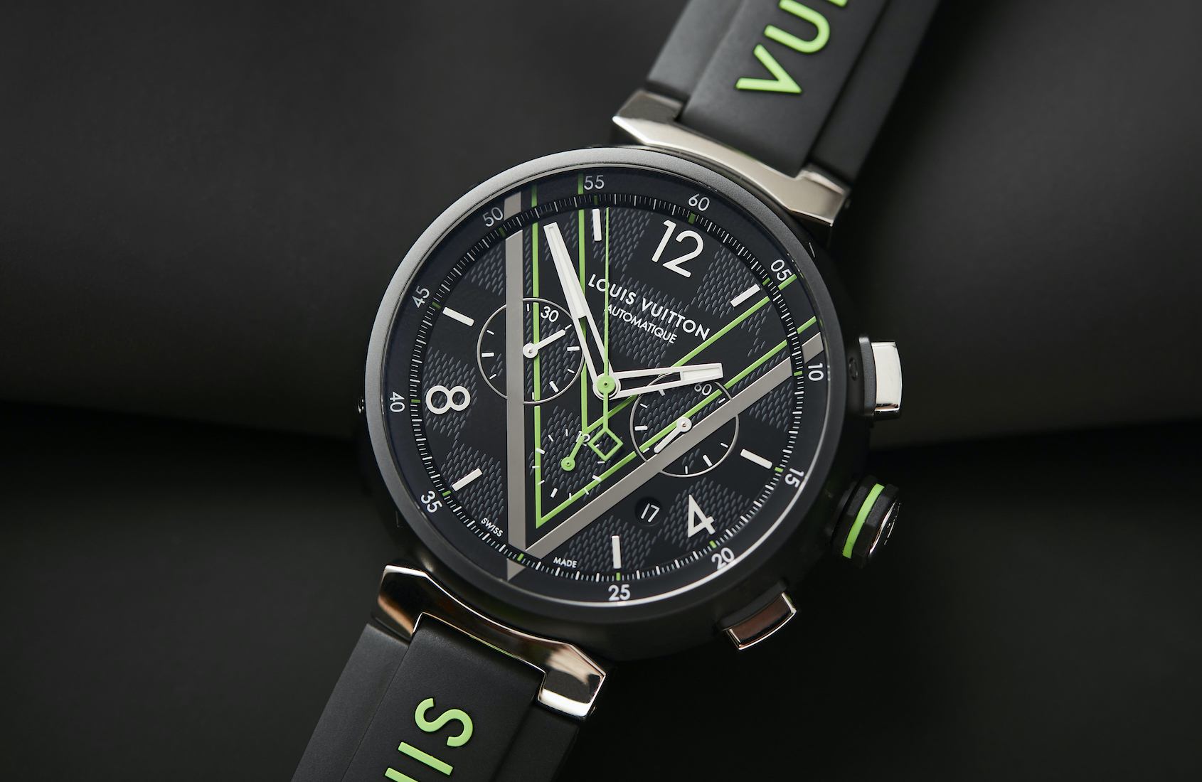 HANDS-ON: The Louis Vuitton Tambour Damier Graphite Race Chronograph brings green lasers to a gun fight