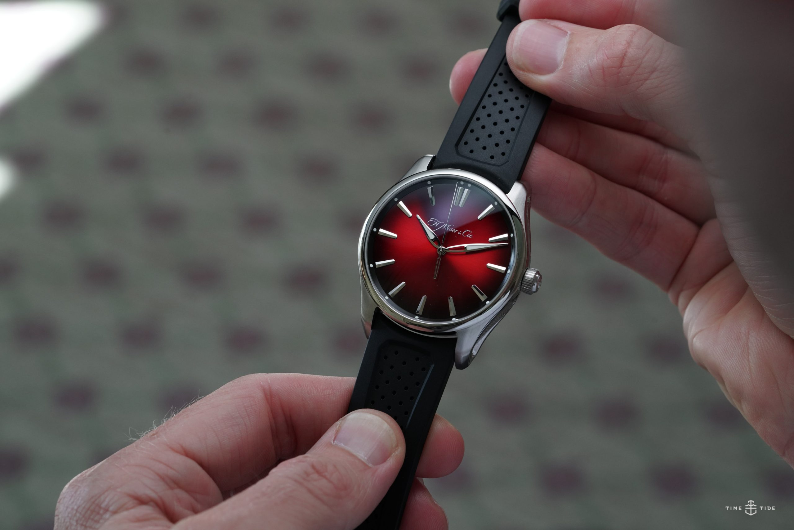 VIDEO: You'll get lost in the spellbinding dial of the H. Moser & Cie. Pioneer Centre Seconds Swiss Mad Red