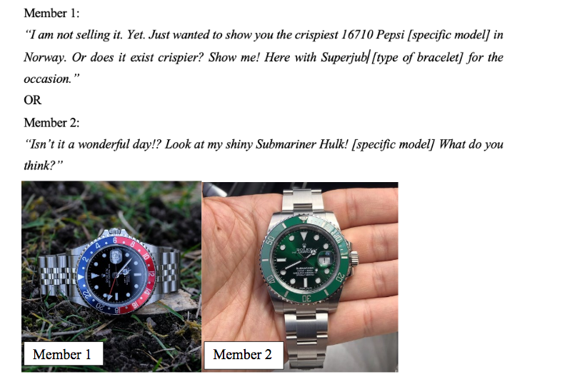 study explores the motivations for posting on Rolex forums