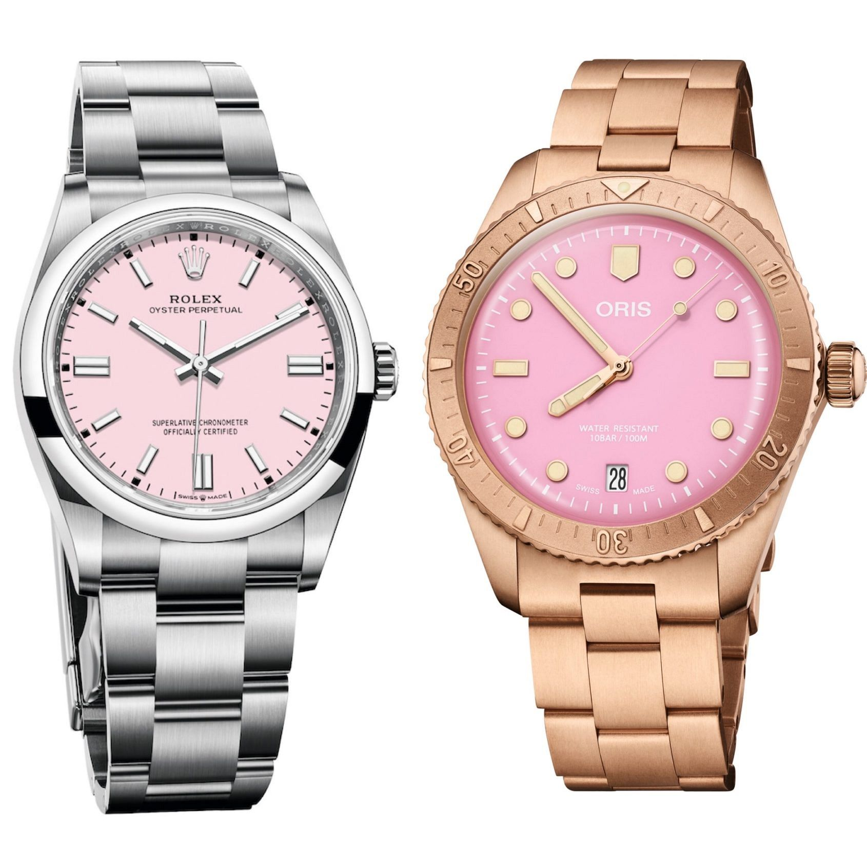 Candy comparison: How do the Oris Cotton Candy and Rolex OP dials compare?
