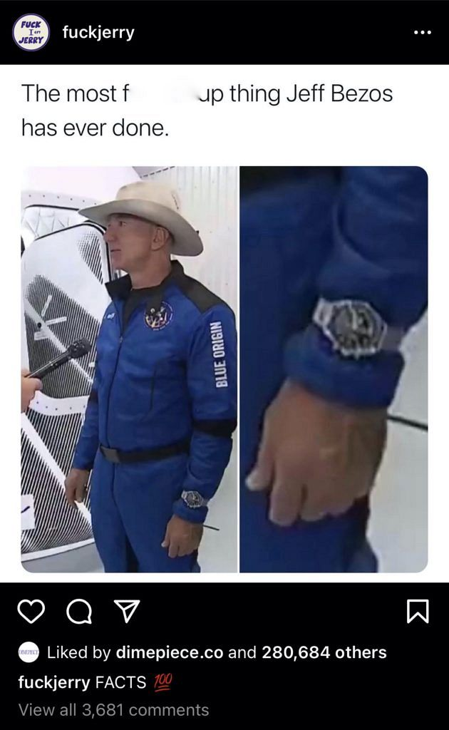 People losing their minds about how Bezos wore his Speedy in space