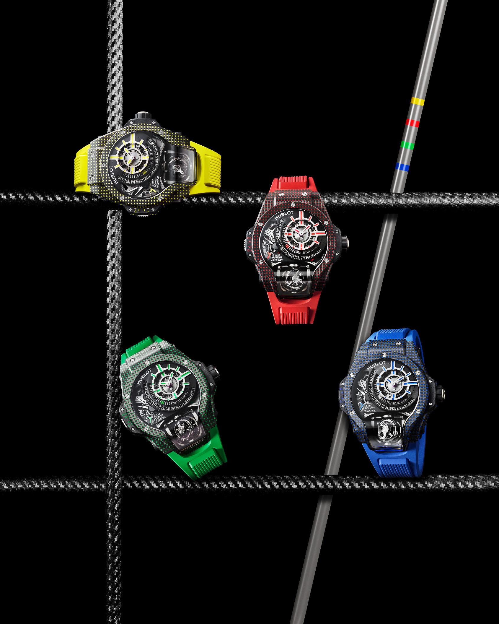 The new Hublot MP-09 Tourbillon Bi-Axis collection is spectacular watchmaking in a blaze of colour